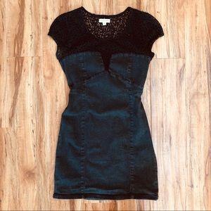 Silence & Noise Denim & Lace Dress